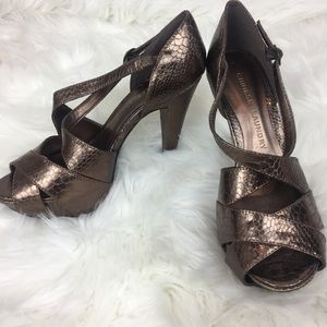 Chinese Laundry bronze strappy snake print heels